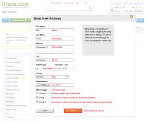registracia na iHerb 8 - zadanie adresy