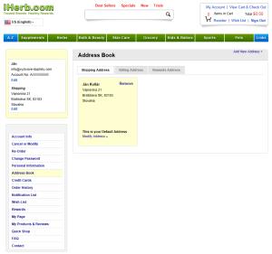 registracia na iHerb 9 - adresa ulozena